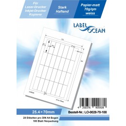 100 Feuille A4 Etiquettes Adhésives Autocollantes 25.4x70mm papier...
