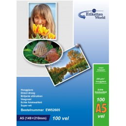 100 Feuilles Papier Photo A5 148x210mm Premium Haute Brillance 260g