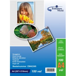100 Feuilles Papier Photo A4 Premium Haute Brillance 230g