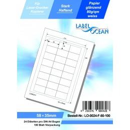 100 Feuille A4 Etiquettes Adhésives Autocollantes 58x35mm papier...