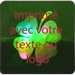 1000 Hologramme Standard Trèfle Avec Votre Text Ou Logo Rouge Foncé