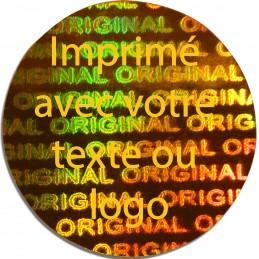 1000 Hologramme Standard Original Avec Votre Text Ou Logo Doré