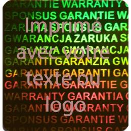 1000 Hologramme Standard Garantie Avec Votre Text Ou Logo Rouge Vif