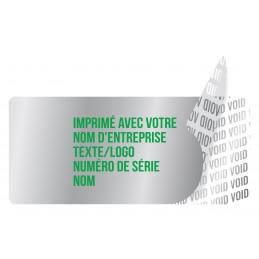 1000 Etiquettes Adhésives Argentée Void Avec Text Vert Format 45 x...