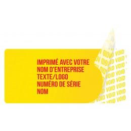 1000 Etiquettes Adhésives Jaune Void Avec Text Rouge Format 45 x 20 mm