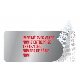 1000 Etiquettes Adhésives Argentée Void Avec Text Rouge Format 35 x...