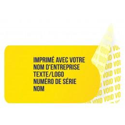 1000 Etiquettes Adhésives Jaune Void Avec Text Bleu Format 20 x 10 mm