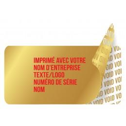 1000 Etiquettes Adhésives Doré Void Avec Text Rouge Format 20 x 10 mm