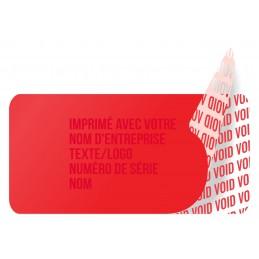1000 Etiquettes Adhésives Rouge Void Avec Text Rouge Format 20 x 10 mm