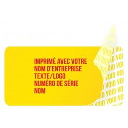 1000 Etiquettes Adhésives Jaune Void Avec Text Rouge Format 20 x 10 mm