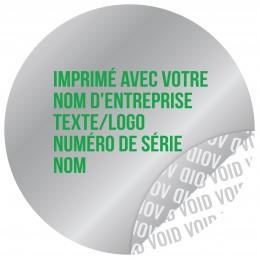 1000 Etiquettes Adhésives Argentée Void Avec Text Vert Format 30 mm