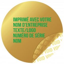 1000 Etiquettes Adhésives Doré Void Avec Text Vert Format 30 mm