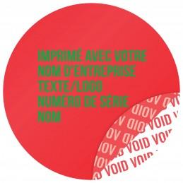 1000 Etiquettes Adhésives Rouge Void Avec Text Vert Format 30 mm
