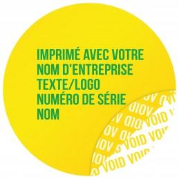 1000 Etiquettes Adhésives Jaune Void Avec Text Vert Format 30 mm
