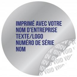 1000 Etiquettes Adhésives Argentée Void Avec Text Bleu Format 30 mm