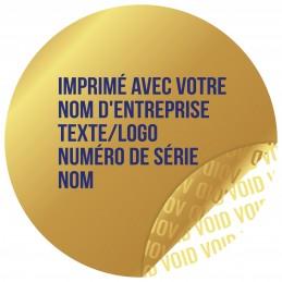 1000 Etiquettes Adhésives Doré Void Avec Text Bleu Format 30 mm
