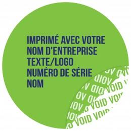 1000 Etiquettes Adhésives Vert Void Avec Text Bleu Format 30 mm