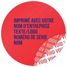 1000 Etiquettes Adhésives Rouge Void Avec Text Bleu Format 30 mm