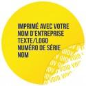 1000 Etiquettes Adhésives Jaune Void Avec Text Bleu Format 30 mm