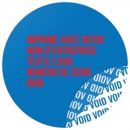 1000 Etiquettes Adhésives Bleu Void Avec Text Rouge Format 30 mm