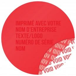 1000 Etiquettes Adhésives Rouge Void Avec Text Rouge Format 30 mm