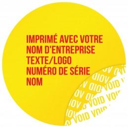 1000 Etiquettes Adhésives Jaune Void Avec Text Rouge Format 30 mm