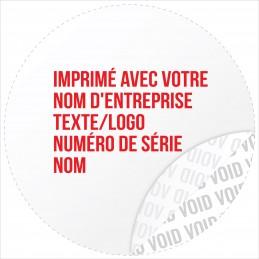 1000 Etiquettes Adhésives Blanc Void Avec Text Rouge Format 30 mm