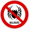 Panneau Autocollant D'Interdiction - Malware Interdit