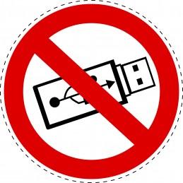 Panneau Autocollant D'Interdiction - Ne Pas Utiliser USB