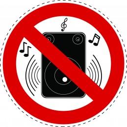 Panneau Autocollant D'Interdiction - Musique Bruyante Interdite
