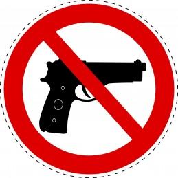"""Panneau Autocollant D'Interdiction - Armes Interdites """"Pistolet"""""""