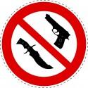 Panneau Autocollant D'Interdiction - Armes Interdites