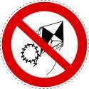 Panneau Autocollant D'Interdiction - Pas de Cerf Volant