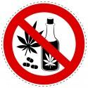 Panneau Autocollant D'Interdiction - Drogues Interdits