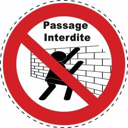 Panneau Autocollant D'Interdiction - Passage Interdite