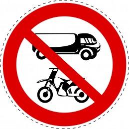 Panneau Autocollant D'Interdiction - Camions et Motocycles Interdits