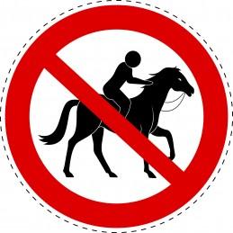 Panneau Autocollant D'Interdiction - Equitation Interdite