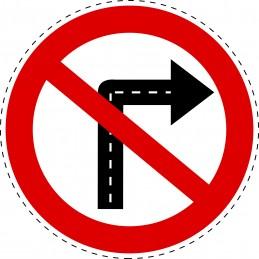 Panneau Autocollant D'Interdiction - Tournez a Droite Interdit