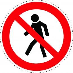 Panneau Autocollant D'Interdiction - Interdits Aux Piétons