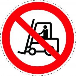 Panneau Autocollant D'Interdiction - Interdit Aux Chariot Élévateur...