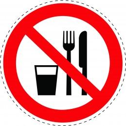 Panneau Autocollant D'Interdiction -  Interdiction de Manger ou de...