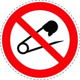 Panneau Autocollant D'Interdiction - Défense D'Utiliser des Épingles