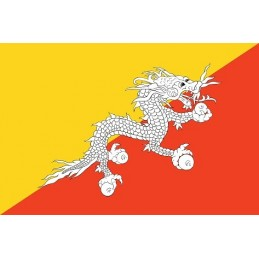 Drapeau Autocollant Bhoutan...