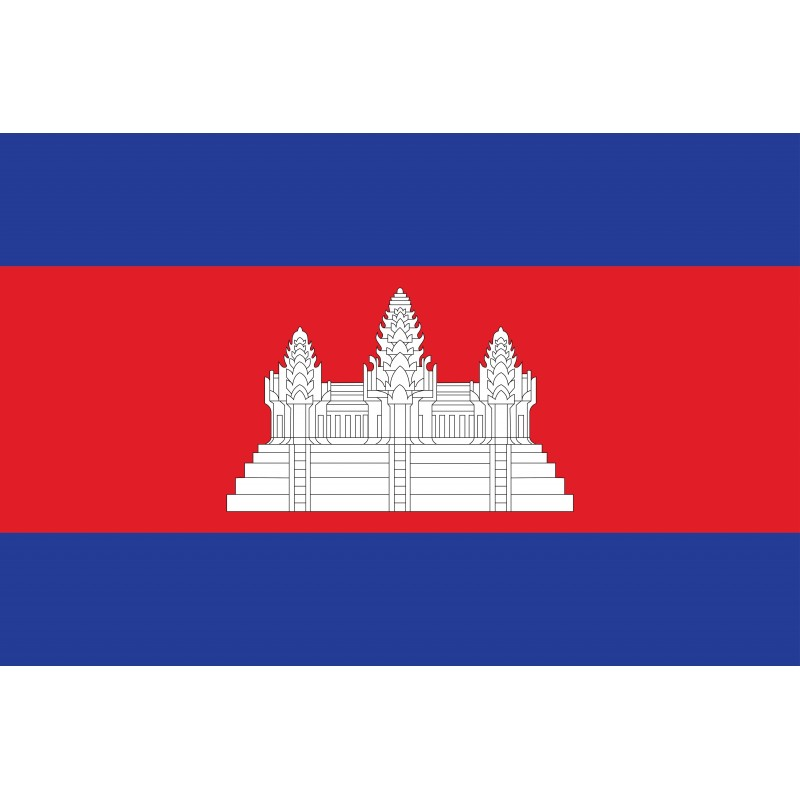 Drapeau Autocollant du Cambodge 10 cm