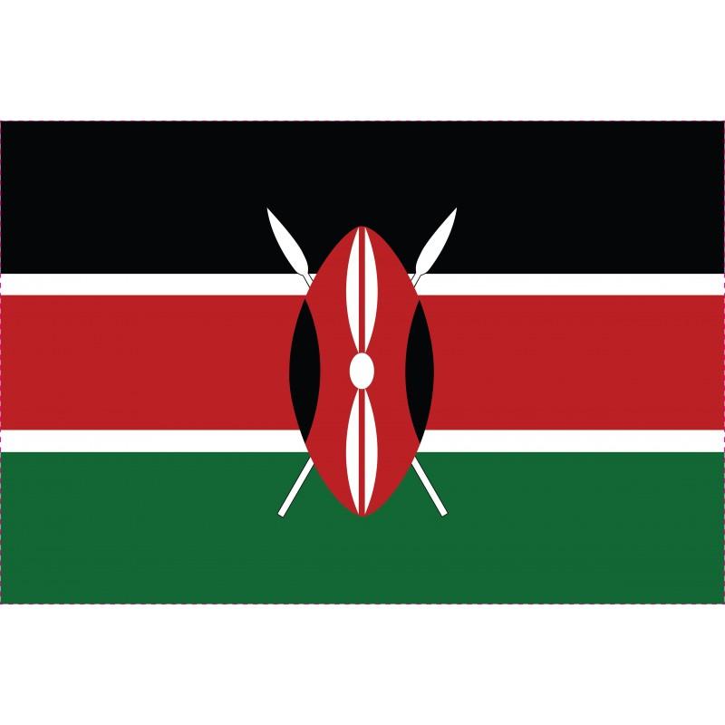 Drapeau Autocollant du Kenya 10 cm