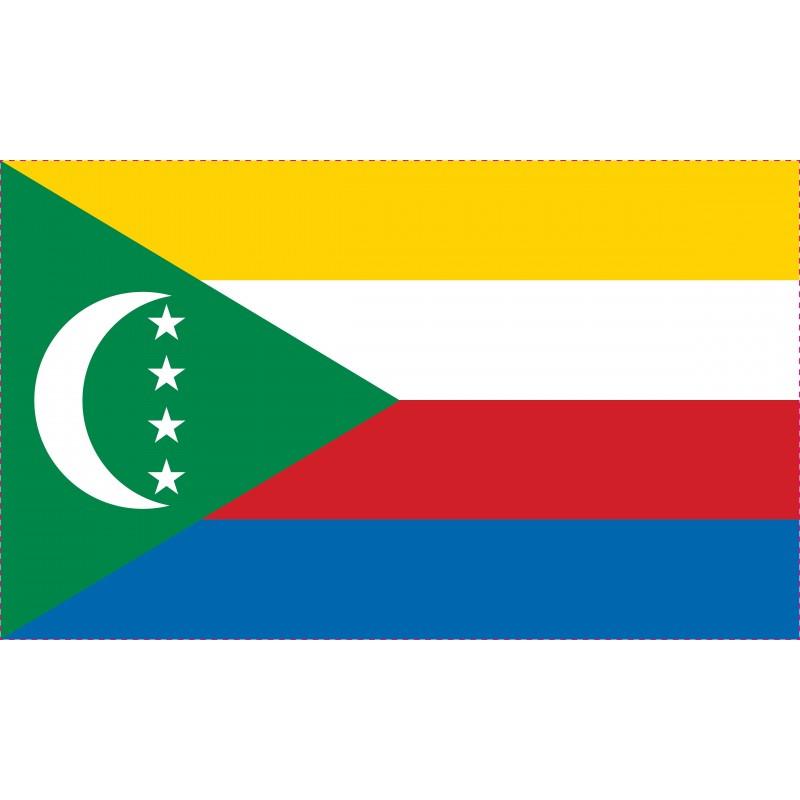 Drapeau Autocollant des Comores 10 cm