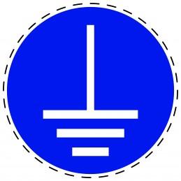 Panneau Autocollant D'Obligation - Mise à la Terre Obligatoire