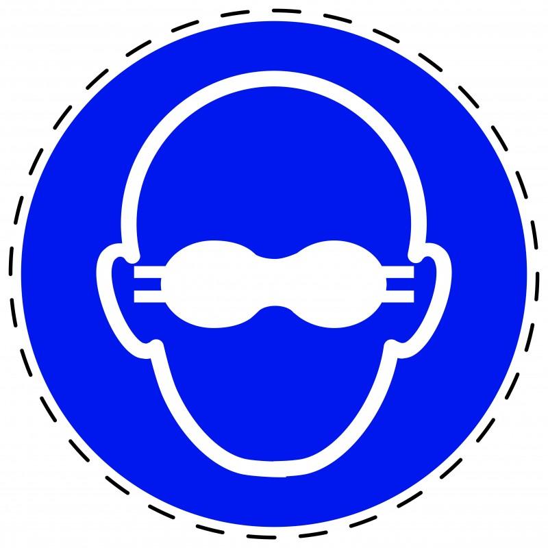 Panneau Autocollant D'Obligation - Lunettes de Protection Opaques Obligatoires