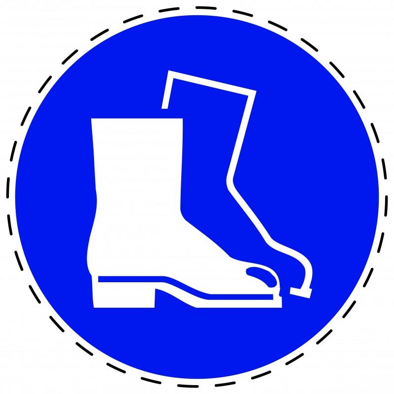 Panneau Autocollant D'Obligation - Chaussures de Sécurité Obligatoire