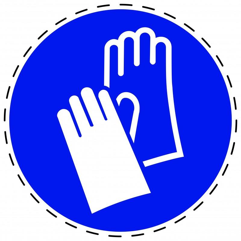 Panneau Autocollant D'Obligation - Gants de Protection Obligatoires